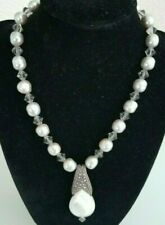 Marcasite, Mother of Pearl & 925 Sterling w/Silver Pearls Vtg. Pendant Necklace