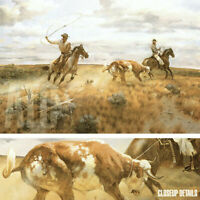 """36W""""x24H"""" CAUGHT IN THE OPEN by J.N. SWANSON - HORSES CATTLE CALF COW CANVAS"""