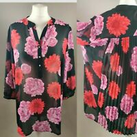 New JD Williams Women Top Blouse Tunic Floral Print Vneck Sheer Plus Size UK 16