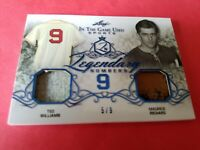 TED WILLIAMS & MAURICE RICHARDS 2 GAME USED JERSEY CARD #d 5/9 2019 LEAF RED SOX