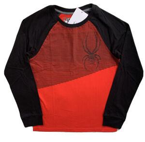 SPYDER Boys Logo Raglan Tee Shirt Red Black NWT $32 Medium 10-12 LARGE 14-16