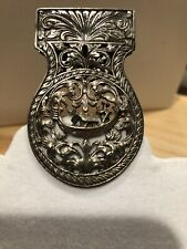 Antique/Vintage Sterling Silver Thai Inspired Ornate Relief Large Clip