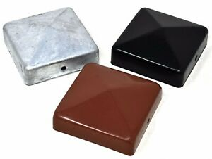 "75mm (3"") & 100mm (4"") METAL PYRAMID FENCE POST END CAPS RED, BLACK & GALVANISED"