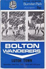 BOLTON WANDERERS V LUTON TOWN FA CUP  24/2/73 WITH FOOTBALL LGE REVIEW