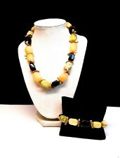 Asian Natural Yellow Jade & Onyx Collar Necklace & Bracelet Set W Leather