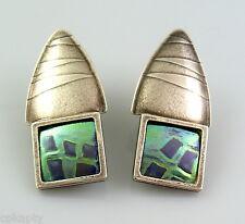 BIG Vintage 1990s Britta Schomer Handmade Modernist Sterling & Niobium EARRINGS