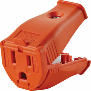 Leviton 3W102-OR Cord Outlet 3-Wire Grounded Socket 15 Amp NEMA 5-15R Orange