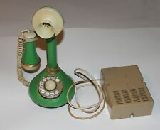 Vintage Rotary Candlestick Telephone; Green Faux Leather Deco-Tel w/ ringer box