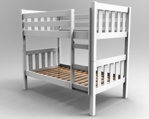 Primo Barcelona 2FT6 x 6FT3 Small Single White Wooden Bunk Bed With Mattresses