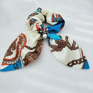 new Women's Silk Printed Bow Tie And Beaded Headband Fashion Hair Accessories 3
