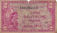 1948 ZWEI 2 DEUTSCHE MARK WEST GERMANY FEDERAL REPUBLIC U.S. ARMY COMMAND