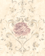 Floral Wallpaper Pink Cream Damask Chinoiserie with a Modern Gold Shimmer