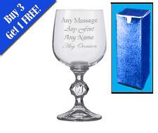 Personalised Engraved Crystal Wine Glass Birthday Wedding Anniversary Gift
