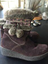 NEW Cherokee Suede Wedge Bootie Size 5 Boho Chic Faux Fur Zipper Pom Pom Ties