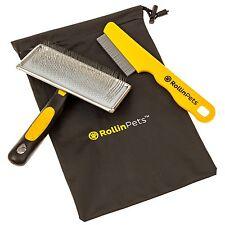 *NEW* DELUXE RollinPets Slicker Dog Grooming Brush, Flea Comb Bundle