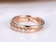 Half Eternity Bridal Set Engagement Ring 1ct Round Diamond 14k SOLID  Rose Gold