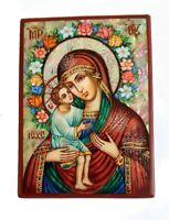 Icona Religioso Ortodossa IN Madreperla Fatto Da Un Designer Russe