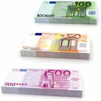 Pack 75 Faux Billets Euro Fictif 50€ 100€ 500€ Réaliste Factice Cinéma Clip Jeu