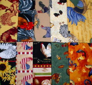 """Vicky's Stash PRE-WASHED Roosters & Hens Themed Fat Quarter (18"""" x 20""""/21"""")"""