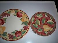 PIER 1 MOSAIC FRUIT DINNER (1) AND SALAD(1) PLATES MADE IN ITALY