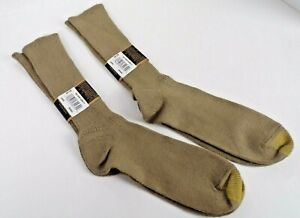 New Gold Toe Men's Flufflies Casual Crew Socks 2 pairs Khaki Tan Gold Spun Fibre