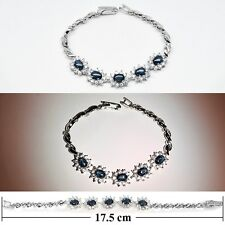 7x5mm Natural 6 Ray Blue Star-Sapphire Bracelet With Zircon in 925 Silver