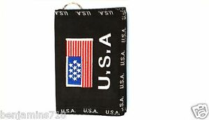 U.S.A Mens Wallet Keychain Secure Billfold Black 2 Zippers for change patriotic