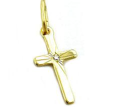 ECHT GOLD *** Kleiner Zirkonia Kreuz Anhänger 17 mm