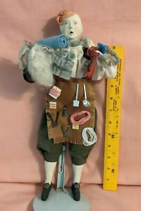 """Collectible Doll, porcelain and fabric, male """"the Peddler"""""""