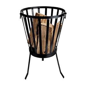 Garden Brazier Cast Iron Fire Basket Wood Log Storage Patio Outdoor Black Round