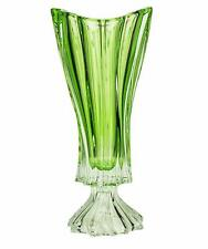 "Footed Vase Crystal Glass15 "" Centerpiece Flower Bud Vase Green Bohemia Crystal"