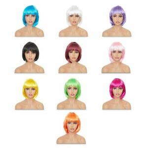 Short Bob Wigs with Bangs, Synthetic Hair for Women, 10 Neon Colors (10 Pcs)