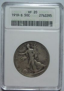 = 1919-S VF20 ANACS WALKING Half, SUPER COLOR & EYE Appeal, FREE Shipping