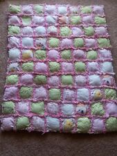 "Rag quilt blanket Baby toddler girl handmade puff  Christmas 36""x36"""