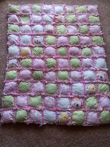 """Rag quilt blanket Baby toddler girl handmade puff  Christmas 36""""x36"""""""