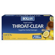 Bioglan Throat-Clear 20 Lozenges - Honey & Lemon Flavour for Sore Throats Colds