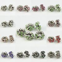 Sparkle Rhinestone Crystal Silver Charms Spacer Beads Fit European Bracelet DIY