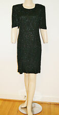 Vintage 80's Silk Beaded Sequin Black Cocktail Dress by Gopal - Size Small