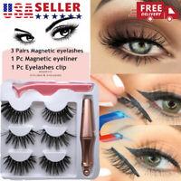 3 Pairs Magnetic False Eyelashes Natural Eye Lashes + Liquid Eyeliner + Tweezer