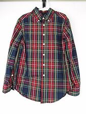 Chaps Boys Red Green Blue Plaid Button Up Shirt Long Sleeves S (8) Christmas C10