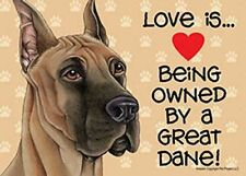 """Love is… being owned by a Great Dane 5"""" x 7"""" Plastic Dog Sign"""