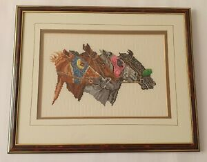 Framed Horse Racing embroidery
