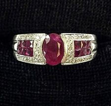 JCR-John C Rinker Ladies 14K Solid White Gold Ruby & Diamond Ring -size 7