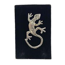 Vtg Silver Tone Artist Signed Hammered Metal Lizard Brooch Pin Southwest Native
