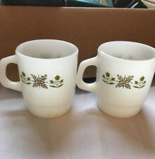 Vintage Set of 2 White Anchor Hocking Fire King Coffee Hot Mugs Cups Made In USA