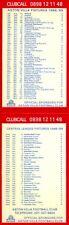 Aston Villa official fixture list card & Clubcall info, Division 1, 1988 - 1989