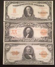 Reproduction Copy Set $10 $20 $50 Bills Gold Certificate Set 1906-1922