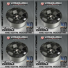 Vanquish KMC XD-775 2.2 Rockstar Wheels Black w/SLW 475 Wheel Hub Complete Set