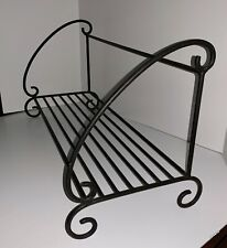 Vintage Black Wrought Iron Book Shelf Stand With Decorative Scrollwork