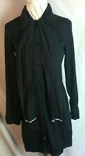 COP COPINE SHIRT DRESS - Black - button down - Pussy bow - Cotton Size 36 10 -I